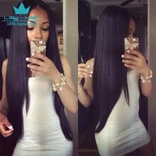 -Peruvian Straight Hair 3 Bundles Grade 8A Unprocessed Virgin Human Hair Weave Extensions Natural Color on JD