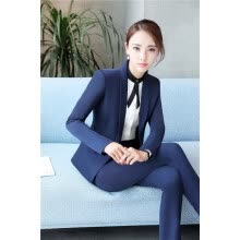 -Elegant Blue Formal Uniform Design Pantsuits With Jackets And Pants For Ladies Office Pants Suits Trousers Set Plus Size 4XL on JD