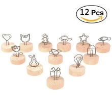 8750202-Memo Holder clips, Volla Photo Holder Stand Clips for Table Natural Wood Business ID Card Holder - 12pcs on JD